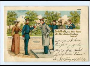 Y13053/ Soldaten mit Frauen Litho AK Rauchen 1909