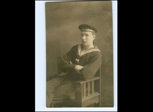 U7349/ Marine Soldat S.M.S. Mecklenburg Foto AK ca.1915