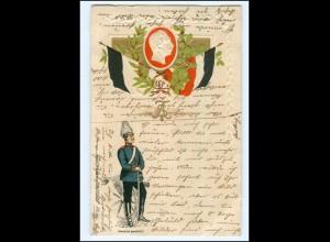 Y13079/ Kaiser Wilhelm Soldat Litho Prägedruck 1909 Patriotik