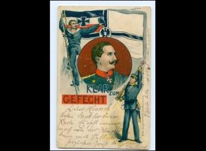 U7491/ Kaiser Wilhelm Klar zum Gefecht, Marine Litho AK 1900