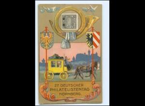 Y14474/ Privatganzsache 27. Dt. Philatelistentag Nürnberg Litho AK + SST 1921