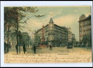 Y12928/ Magdeburg Hasselbachplatz Straßenbahn 1906 AK