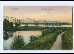 Y13004/ Westpreußen Graudenz Weichselbrücke 1915 AK