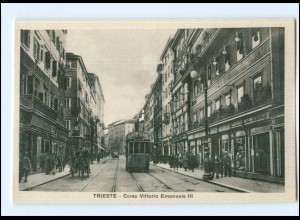 Y12994/ Italien Trieste Corso Vittorio Emanuele III Straßenbahn AK