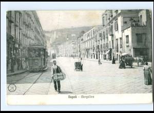 Y12997/ Italien Napoli Mergellina Straßenbahn AK