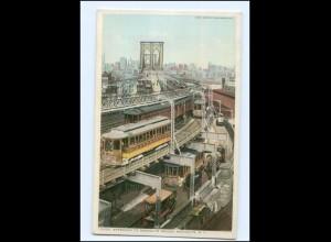 U7103/ New York Brooklyn Bridge Tram Straßenbahn AK USA ca.1910