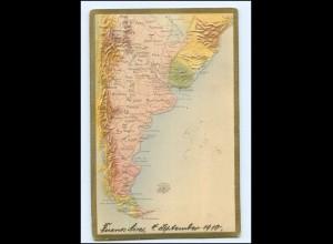 U7018/ Argentinen Landkarten AK Prägedruck 1910