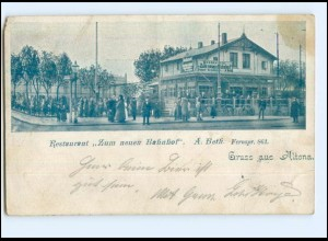 "U8193/ Hamburg Gruß aus Altona Restaurant ""Zum alten Bahnhof"" AK ca.1900"