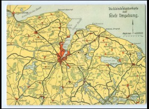 U7054/ Kiel und Umgebng Landkarten AK ca.1925