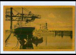 U7306/ Hamburrg Harburg Hafen mit Kriegsschiff AK ca. 1940