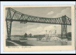 U7281/ Rendsburg Hochbrücke Schwebefähre Kriegsschiff Ak ca.1940