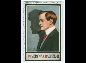 Y13137/ Mann mit Pfeife Schatten Künstler AK 1910