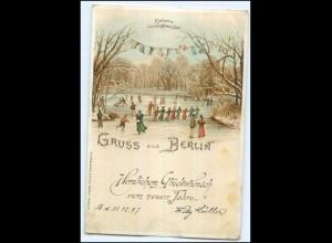 Y13430/ Gruß aus Berlin Eisbahn Eislaufen Litho AK 1897