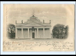 V151/ Gruß aus Ludwigslust Lutherische Kirche AK 1896