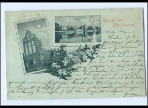 U7731-193./ Gruß aus Wittenberge Mondschein AK 1898