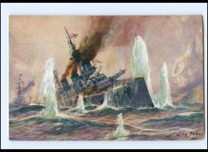 Y13143/ Kolonialkriegerdank AK engl Kreuzer Seegefecht Willy Stöwer 1915