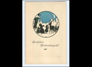 Y13120/ Weihnachten Engel Reh Schattenbild AK ca.1912