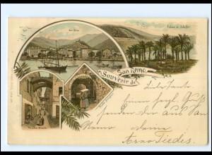 Y13119/ Souvenir de San Remo Litho AK Italien 1899