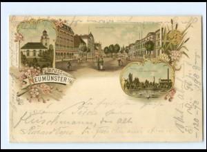 U7762/ Gruß aus Neumünster Litho AK 1897