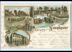 U7763/ Gruß aus Neumünster Markt, Bahnhofs-Hotel Litho AK 1898