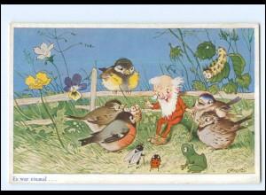 U7682/ Fritz Baumgarten Es war einmal... Zwerg Frosch Vögel Käfer AK ca.1940