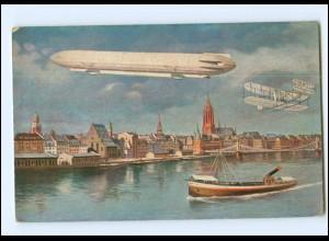 U8226/ Zeppelin Flugzeug über Frankfurt M. AK ca.1912