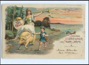 U7709/ Halt gegen Licht Meteor AK Neujahr Schwein Litho AK 1899