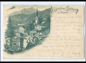 U7647/ Gruß aus Sölden im Oetzthale Tirol AK 1897