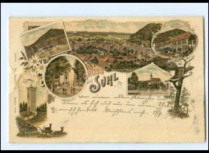 U7573-985/ Gruß aus Suhl in. Th. Litho AK 1897