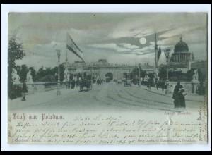 U8173/ Gruß aus Potsdam Lamge Brücke Mondschein AK 1898