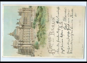 U7612/ Gruß aus Berlin Halt gegen Licht Reichstagsgebäude Litho AK 1898