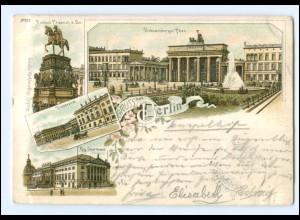 U7659/ Gruß aus Berlin Brandenburger Tor Litho AK 1897