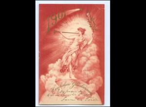 Y13433/ Neujahr 1900 Jahrhundertwende schöne Litho AK 1899 Weltkugel