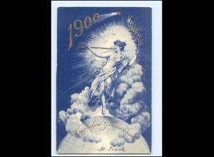 Y13432/ Neujahr 1900 Jahrhundertwende schöne Litho AK 1899 Weltkugel