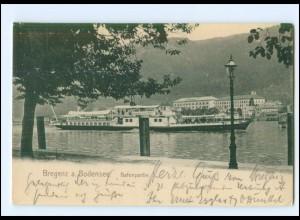 U7552/ Bregenz Hafenpartie Dampfer AK 1905