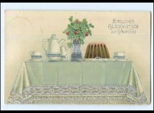 Y13122/ Geburtstag Kaffee Kuche Litho Glanz AK 1914