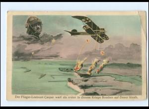 U8123/ Flieger-Leutnant Caspar wirft Bomben auf Dover ab, Pilot, Flugzeug WK1 AK