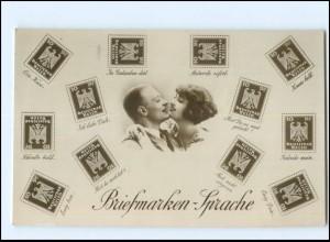 U7896/ Briefmarkensprache schöne Foto AK Fotomontage ca.1930