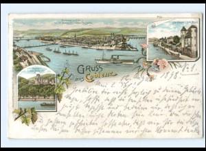 Y13373/ Gruß aus Koblenz Litho AK 1898