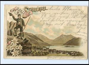 Y13372/ Gruß aus Schliersee Bergsteiger Litho Ak 1898