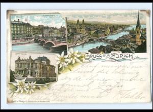 Y13371/ Gruß aus Zürich Litho AK Schweiz 1898