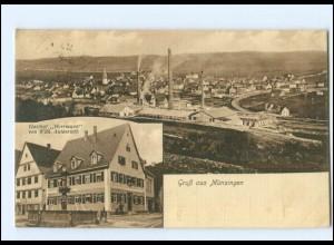 U7938-7420/ Münsingen Gasthof Herrmann AK 1921