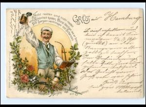 Y13385/ Student trinkt Bier schöne Litho AK Studentika 1898
