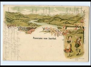 Y13384/ Gruß aus Tölz Isarthal Litho Ak 1907