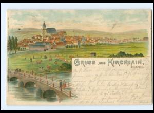 U7963-3575/ Gruß aus Kirchhain Bez. Kassel Litho Ak 1899