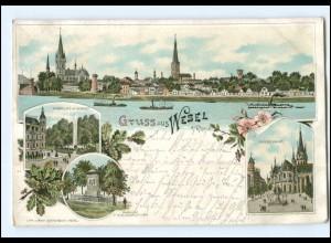 U7968-4230/ Gruß aus Wesel Litho AK 1898