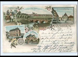 U7969-3575/ Gruß aus Kirchhain Litho Ak 1896