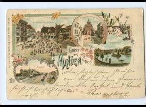 U8010-4950/ Gruß aus Minden mit Bahnhof Litho AK 1899