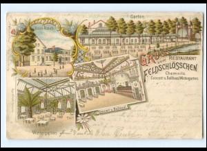 U8073-091/ Chemnitz Gruß vom Restaurant Feldschlößchen Litho AK 1899