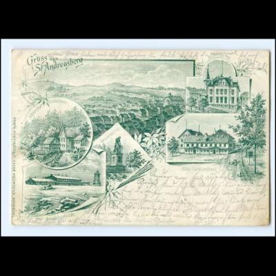 Y13392/ Gruß aus St. Andreasberg Litho AK 1896